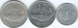 Iceland - 1 Króna - 1978 - KM23; 1981 - KM27 (non Magnetic) & 2006 - KM27a (magnetic) - Iceland