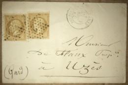 LSC Avec Paire De Napoléon III - YT 21 Oblitération Etoile Et Chiffre 2 - De Paris St Lazare à Uzès (Gard) Daté 1864 - Poststempel (Briefe)