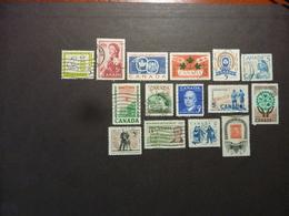 CANADA, Année 1959-61, LOT De 15 TIMBRES Oblitérés, YT N° Inscrit Au Dos Des Timbres (entre 312 Et 326) - Gebruikt