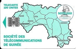 CARTE-PUCE-GUINEE-100U-SC7-CARTE De GUINEE-VERTE-V°BanqueSGBG-Sans N°-UTILISE-TBE-RARE - Guinee