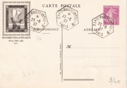 Semeuse 20 C. Lilas-rose - Pexip - Bourse Philatélique Brun - Oblitéré  - 2 Scans - Cartes Postales Repiquages (avant 1995)