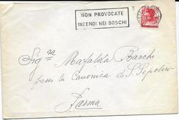 """V-ANNULLO """"NON PROVOCATE INCENDI NEI BOSCHI""""SU BUSTA VIAGGIATA 1966 MINCHELANGIOLESCA 40 LIRE - 1961-70: Marcofilia"""