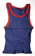 Une CHEMISE Débardeur Marcel Modèle Sport ATHLETISME EN COTON BLEU Liserets ROUGES Années 40-50 (mod 1 Col) - Vintage Clothes & Linen