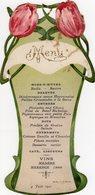 MENU Du 4 Juin 1911 Style Art Nouveau SAULIEU 21 Forme Vase Et Tulipes - Menus