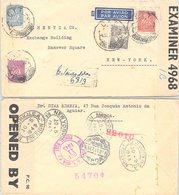 PORTUGAL. LETTRE. PAR AVION,  1943. RECOMMANDÉ LISBONNE RESTAUREDORES POUR NEW YORK ETATS UNIS  BANDES CENSURE - Briefe U. Dokumente