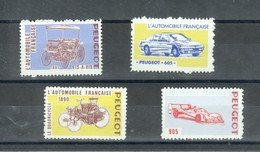 4 Vignettes Peugeot - 605 ; 905 ; Vis à Vis ; Le Quadricycle - Turismo (Viñetas)