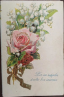"""Cpa, Légèrement Gaufrée, Fantaisie, """"pour Me Rappeler à Votre Bon Souvenir"""",Bouquet Avec Rose,Muguet Et Noeud, écrite - Andere"""