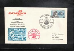 Germany / Deutschland DDR 1981 50 Years Of Polarflight Graf Zeppelin - Interflug Flight Berlin - Leningrad - Poolvluchten