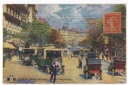 Cartolina-Postcard, Viaggiata (sent), Paris, Boulevard Des Italiens - Other