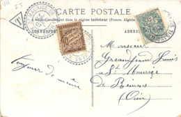 TAXE 10c. Banderolles Sur Carte Fantaisie Illustrée Violette Obl. Facteur-boitier St Maurice De Remens - 1859-1955 Cartas