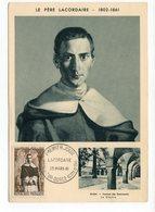 Carte Maximum 1961 - Le Père Lacordaire - YT 1287 - 21 Recey Sur Ource - Cartes-Maximum