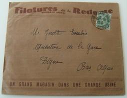 Enveloppe+ Documents Filatures De La Redoute Roubaix 1945 Timbrée Vintage Tricot - Laine