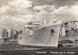 CIVITAVECCHIA-ROMA-MOTONAVE PER LA SARDEGNA-CARTOLINA VERA FOTOGRAFIA-VIAGGIATA IL 10-10-1957 - Civitavecchia