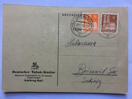 GERMANY 1949 Postkarte Amberg To Biezwil - `Deutscher Tabak-Kurier` - American,British And Russian Zone