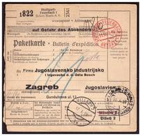Bulletin D'expédition De STUTTGART En Taxe Perçue Pour ZAGREB Du 11.10.39. Taxe YOUGOSLAVIE - Deutschland