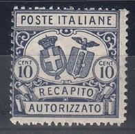 ITALIA REGNO 1928 RECAPITO AUTORIZZATO SASSONE N. 2  D.14  MNH - Mint/hinged