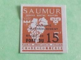 Plaquette N° 3 / SAUMUR Service Postale Routier - Strike Stamps