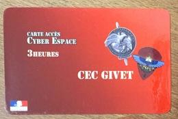 ARMÉE GIVET CENTRE D'ENTRAINEMENT COMMANDO MILITAIRE SOLDATS CARTE PASSMAN 3H TÉLÉCARTE - Armée