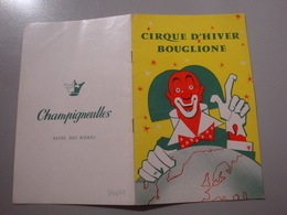 PROGRAMME CIRQUE D'HIVER BOUGLIONE 1961 LES 4 FRERES BOUGLIONE JACKY LE GORILLE CLOWNS MIMILE PIPO DARIO - Programmes