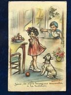 """""""La Tentation De """"Eve""""...Fillette,garçon Et Chien """"-Germaine Bouret--(2306)--1946 - Bouret, Germaine"""