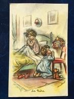 """""""Scène De Noël--la Prière Des Fillettes Avant Le Coucher """"-Germaine Bouret--(2309) - Bouret, Germaine"""