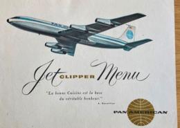 Vtg MENU Diner Carte - PAN AMERICAN Jet Clipper Class President Maxim's Paris. 1961 In Flight POSTMARK Jamaica PAN AM - Jamaïque (...-1961)