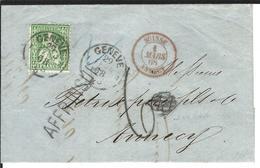 SBK 34 Genève O 29.2.1868 (Schalttag) AE 4946 Oder 4947 Nach Annecy Weitere Stempel S. Unten - 1862-1881 Sitzende Helvetia (gezähnt)