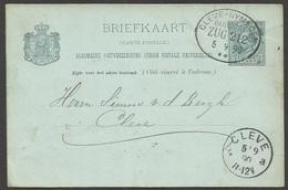 Deutscher Zugstempel CLEVE - NYMEGEN / BAHNPOST / ZUG 212 Op Briefkaart 5 Cent Willem III Uit 1890, Naar Cleve - Postal Stationery