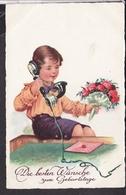 Postkarte Geburtstag Junge Mit Telefon - Geburtstag