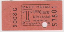 PARIS TICKET DE METRO RATP 1 ER CLASSE BILLET INDIVIDUEL VALABLE POUR 2 VOYAGE SUCCESIFS ANNEE 1929 - Subway