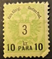 AUSTRIAN POST IN LEVANTE 1888 - MLH - ANK 15 - 10p/3kr - Nuovi