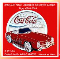 RARE MAX PIN'S MERCEDES ROADSTER CABRIO 300 : Enjoy COCA-COLA CLASSIC, Zamac Argent Double Moule, 5,6X4,8cm - Mercedes