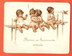 TSS-17 Vignette En Carton, Bonne Et Heureuse Année, Bébés Sur Une étagère. Circulé Sous Enveloppe. - Vieux Papiers