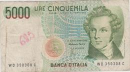 Italie - Billet De 5000 Lire - Vincenzo Bellini - 4 Juin 1985 - 5000 Lire