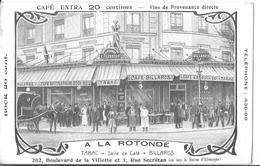 PARIS 19   DESSIN CAFE  A LA ROTONDE   TABAC  202  BLD DE LA VILLETTE    ET 1 RUE SECRETAN  PERSONNAGES ATTELAGE CHEVAL - Arrondissement: 19