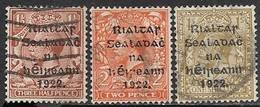Ireland  February 1922  Sc#15-6, 18  Alex Thom Issue   3 Diff Used  2016 Scott Value $27.50 - Usati