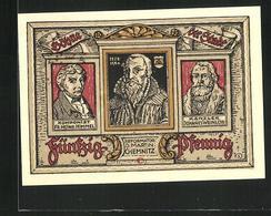 Notgeld Treuenbrietzen 1921, 50 Pfennig, Stadtwappen, Reformator D. Mrtin Chemnitz, Komponist Fr. Heinr. Himmel - [11] Local Banknote Issues