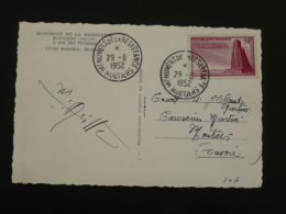 Carte Maximum Card Monument De La Résistance En Tarentaise Moutiers 73 Savoie 1952 - Guerre Mondiale (Seconde)