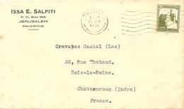 ISSA E. SALFITI JERUSALEM  OMec 7.L.O. Du 21 NOV 1946  Pour CRAVATES CASTEL CHATEAUROUX INDRE - Palestine