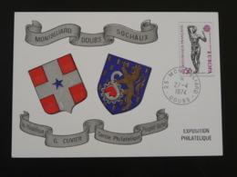 Carte Locale Card Exposition Philatélique Montbeliard 25 Doubs Europa 1974 - Briefmarkenausstellungen