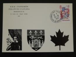 Carte Commemorative Card Congrès France Canada Bordeaux 33 Gironde Europa 1980 - Briefe U. Dokumente