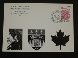 Carte Commemorative Card Congrès France Canada Bordeaux 33 Gironde Europa 1980 (ex 2) - Postmark Collection (Covers)