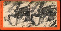 Photographie Stéréoscopique Chemin De Fer Rigi Arth Charnaux Freres à Genève Suisse Maison Des Trois Rois   9 Par 17 Cm - Antiche (ante 1900)