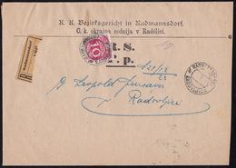 Radovljica Raddmansdorf, Court Summons, Registered, 10 Hel Postage Due Charged, Ca 1910 - Slovenia