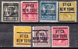 USA Precancel Vorausentwertung Preo, Locals New York, Utica 204, 7 Diff. Perf. 2 X 11x11, 5 X 11x10 1/2 - United States