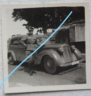 Photo VOITURE Automobile Auto 1940 Officier Allemand Car Bunker German Officer WW2 - Automobiles