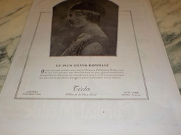 ANCIENNE PUBLICITE LE PLUS GRAND HOMMAGE PERLE  TECLA 1924 - Joyas & Relojería