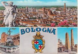 566 - BOLOGNA - VEDUTINE MULTIVUES - ACQUERELLATA - PANORAMA - FONTANA NETTUNO - LE DUE TORRI - VIAGGIATA - Bologna