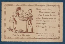 Carte Faire Part De Naissance - Format Cpa - Cartes Postales