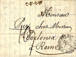 1826- Lettre De 68 / LYON ( Rhône ) + C.F.2.R Noir  Taxe 19 Avec Cad De Transit à Genova - Italie